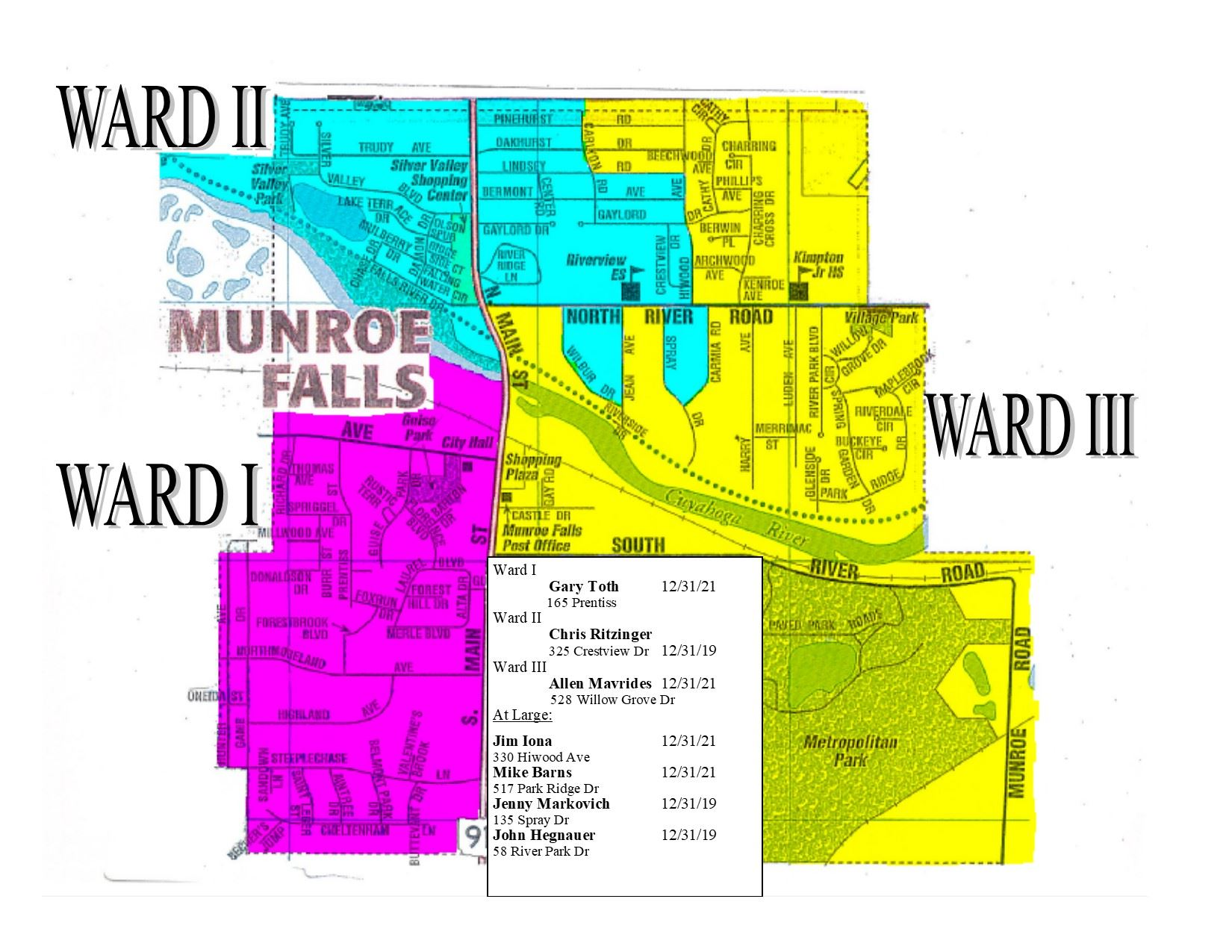 Ward Map with Council names and term exp